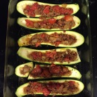 Zucchini boats with sausage and tomatoes